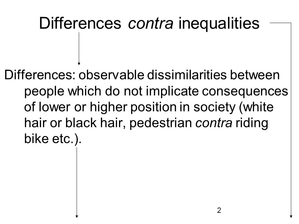 3 Differences are aspects of a social structure (underclass, middle class, lower middle class, higher middle class etc.).