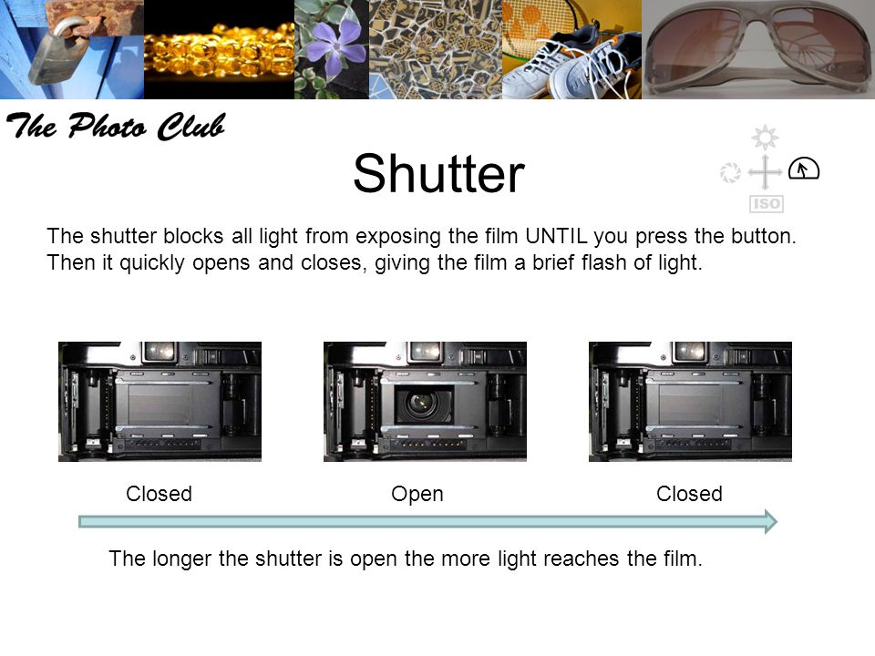 Shutter The shutter blocks all light from exposing the film UNTIL you press the button. Then it quickly opens and closes, giving the film a brief flas