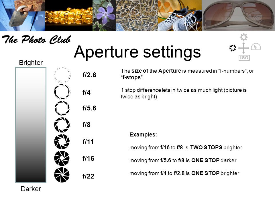 "Aperture settings The size of the Aperture is measured in ""f-numbers"", or ""f-stops"". 1 stop difference lets in twice as much light (picture is twice a"