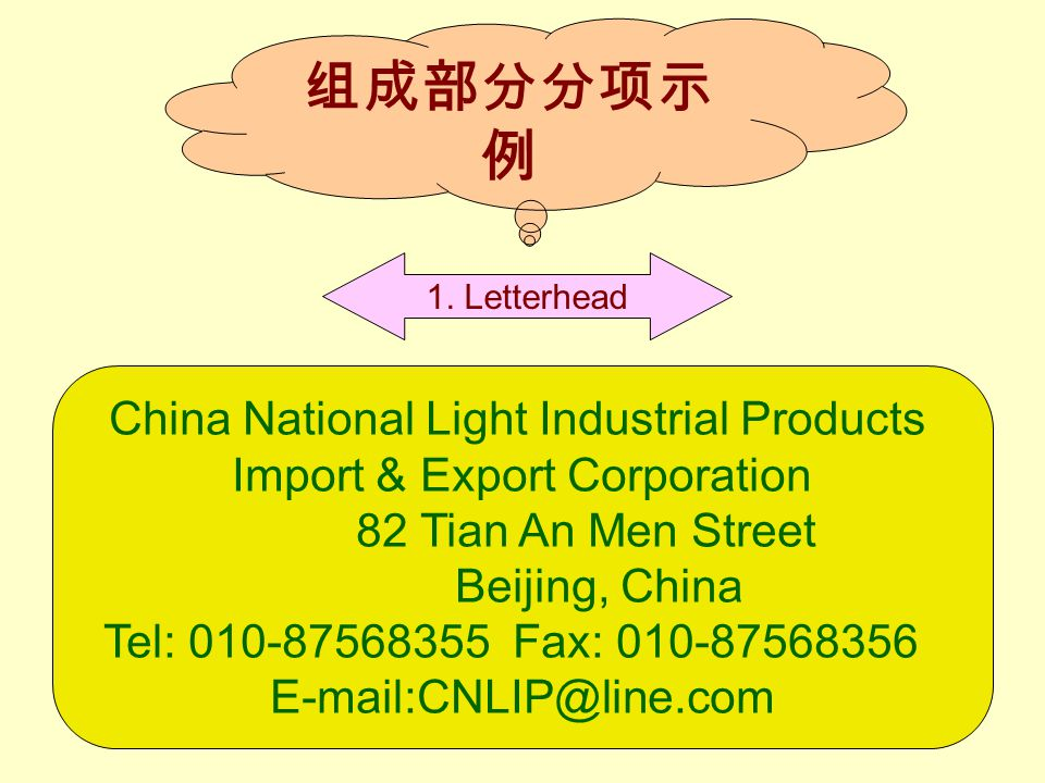 组成部分分项示 例 China National Light Industrial Products Import & Export Corporation 82 Tian An Men Street Beijing, China Tel: 010-87568355 Fax: 010-87568356 E-mail:CNLIP@line.com 1.
