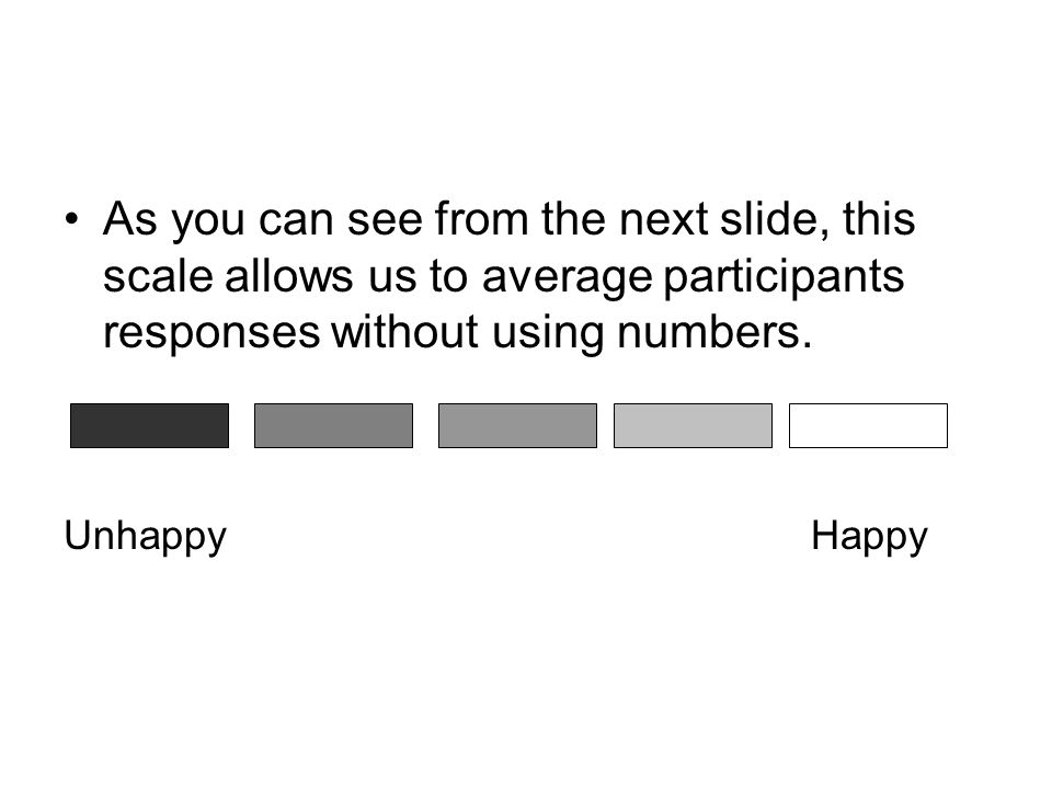 As you can see from the next slide, this scale allows us to average participants responses without using numbers.