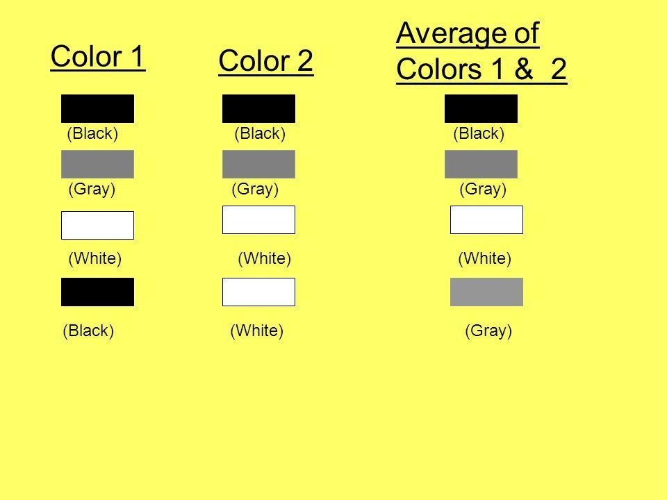 Color 1 Color 2 Average of Colors 1 & 2 (Black) (Black) (Black) (Gray) (Gray) (Gray) (White) (White) (White) (Black) (White) (Gray)