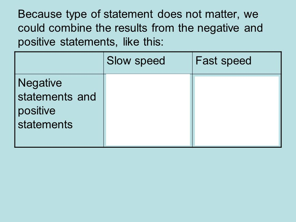 Because type of statement does not matter, we could combine the results from the negative and positive statements, like this: Slow speedFast speed Negative statements and positive statements