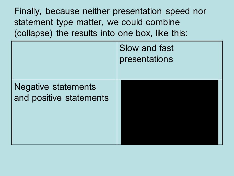 Finally, because neither presentation speed nor statement type matter, we could combine (collapse) the results into one box, like this: Slow and fast presentations Negative statements and positive statements