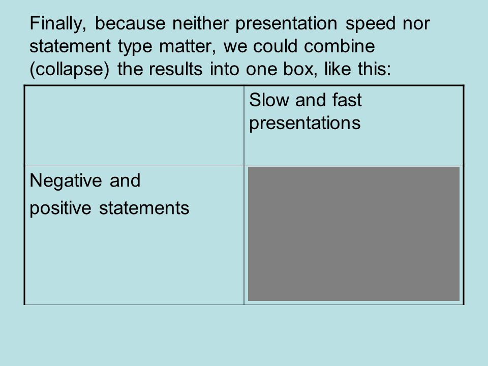 Finally, because neither presentation speed nor statement type matter, we could combine (collapse) the results into one box, like this: Slow and fast presentations Negative and positive statements