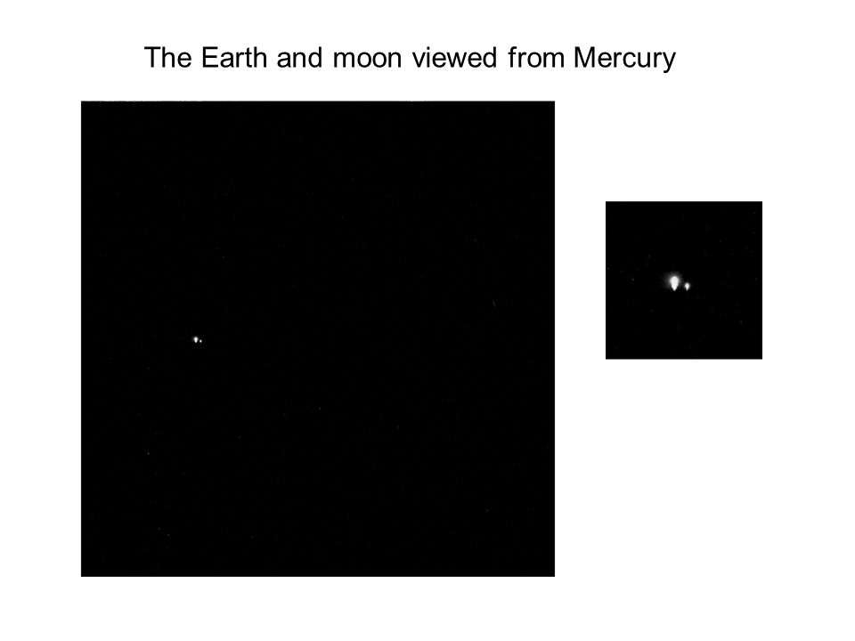 The Earth and moon viewed from Mercury