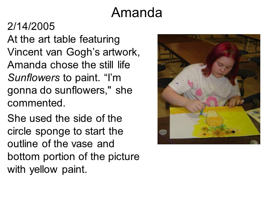 Amanda turned the circular sponge on its edge to add the color close to the line and then filled it in with dabs using the flat side of the sponge.