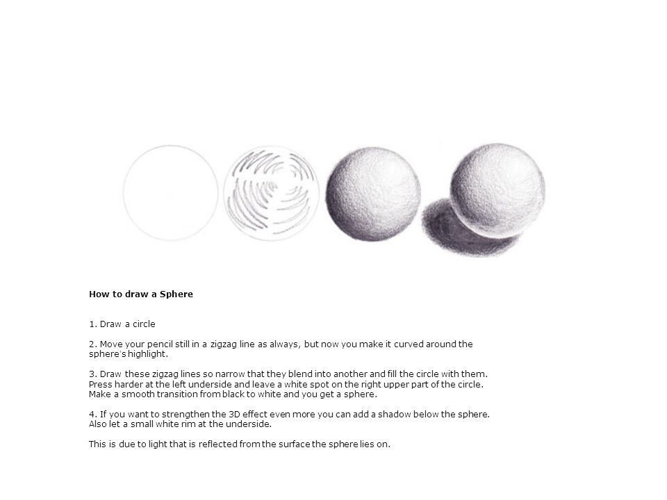 How to draw a Sphere 1. Draw a circle 2.