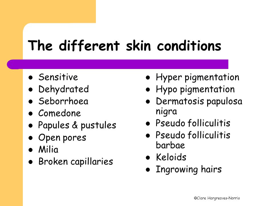  Clare Hargreaves-Norris The different skin conditions Sensitive Dehydrated Seborrhoea Comedone Papules & pustules Open pores Milia Broken capillarie