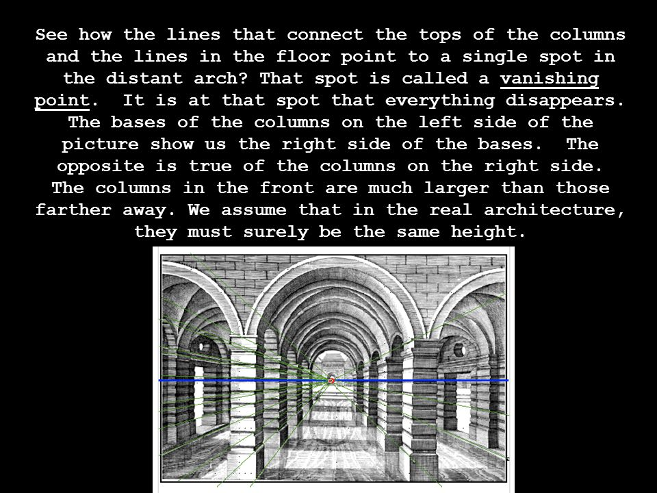See how the lines that connect the tops of the columns and the lines in the floor point to a single spot in the distant arch.