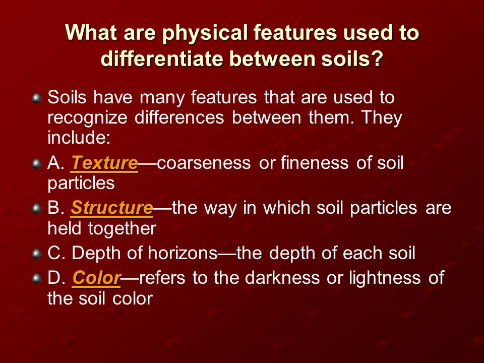 What are physical features used to differentiate between soils? Soils have many features that are used to recognize differences between them. They inc