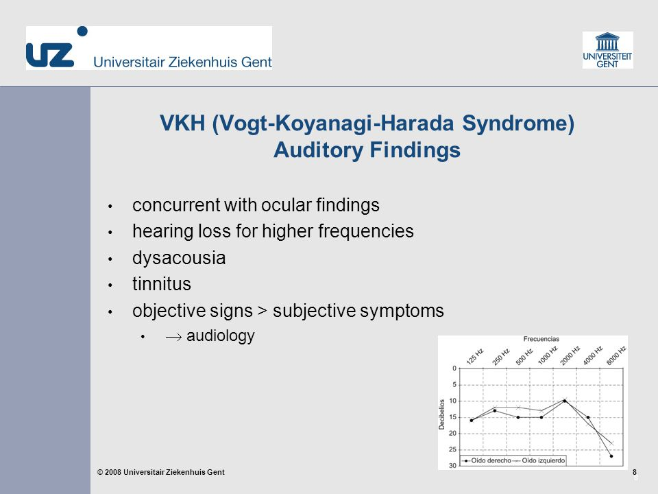 8 8© 2008 Universitair Ziekenhuis Gent VKH (Vogt-Koyanagi-Harada Syndrome) Auditory Findings concurrent with ocular findings hearing loss for higher frequencies dysacousia tinnitus objective signs > subjective symptoms  audiology