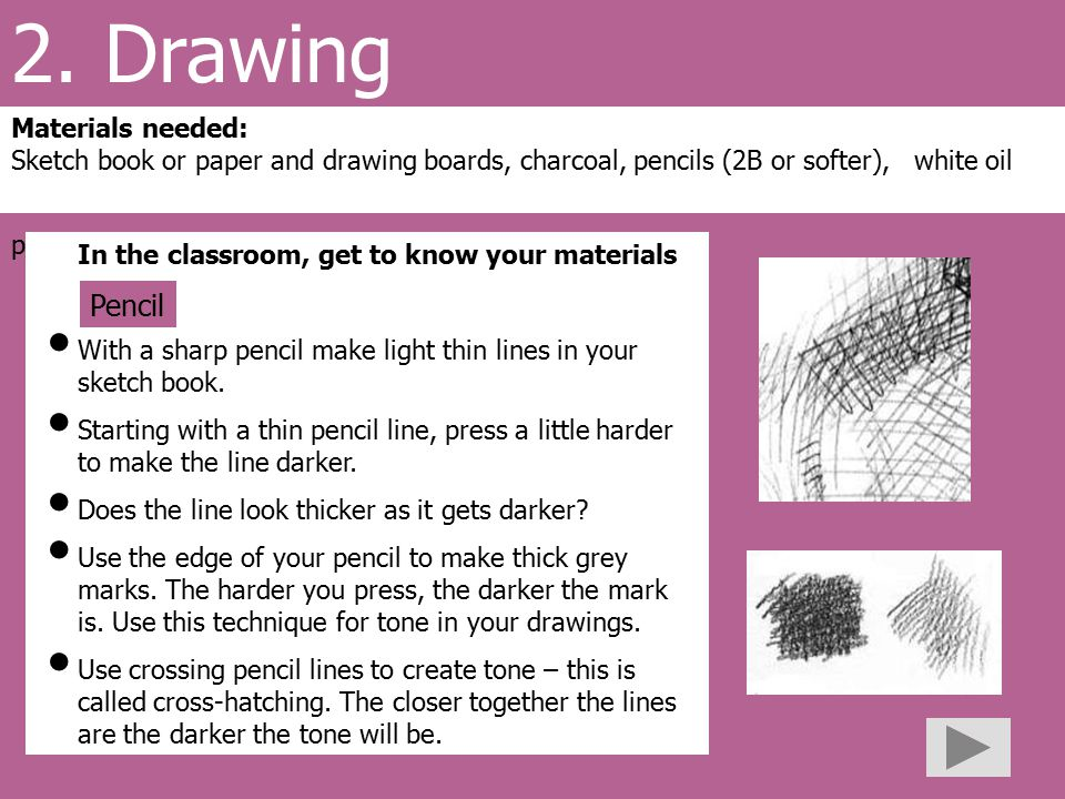 2. Drawing Materials needed: Sketch book or paper and drawing boards, charcoal, pencils (2B or softer), white oil pastels In the classroom, get to kno