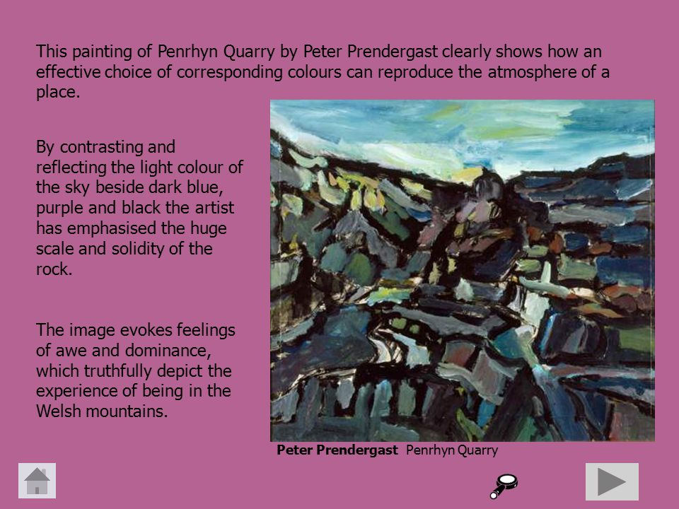 By contrasting and reflecting the light colour of the sky beside dark blue, purple and black the artist has emphasised the huge scale and solidity of the rock.