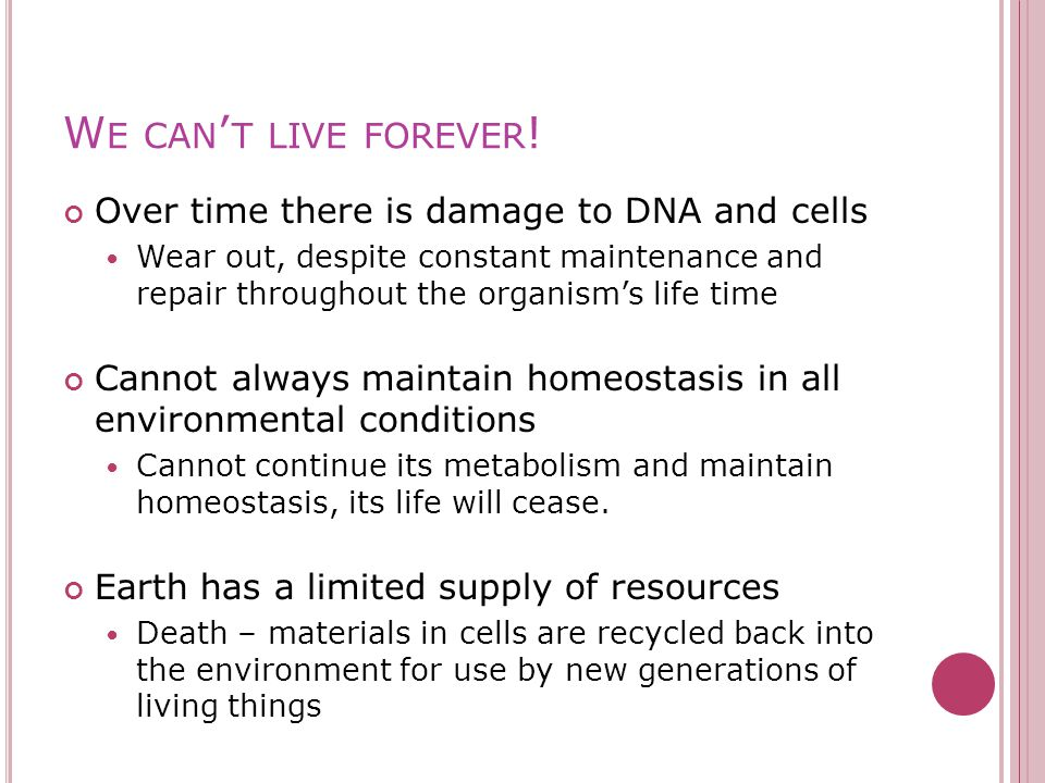 W E CAN ' T LIVE FOREVER .