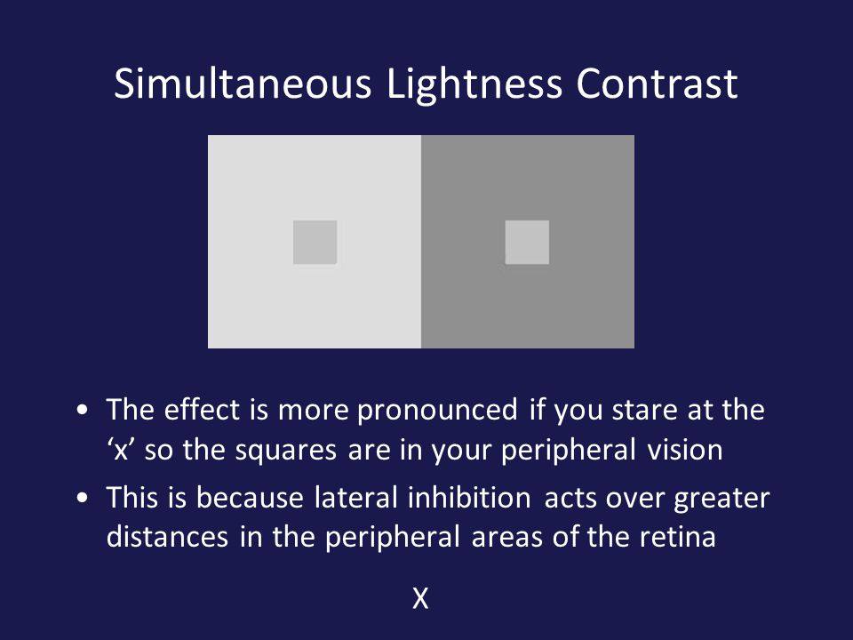 Simultaneous Lightness Contrast The effect is more pronounced if you stare at the 'x' so the squares are in your peripheral vision This is because lateral inhibition acts over greater distances in the peripheral areas of the retina X