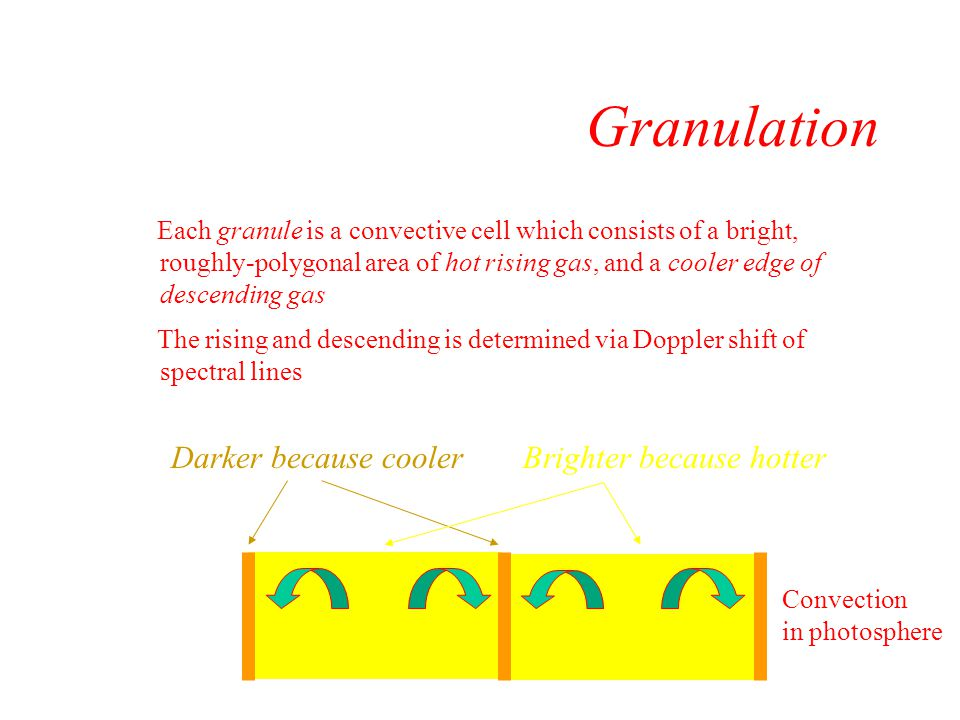Granulation The energy (E) and temperature (T) according to Stephan- Boltzman law: E~T 4 So more photons per area emitted from hot regions Convection in photosphere Darker because coolerBrighter because hotter