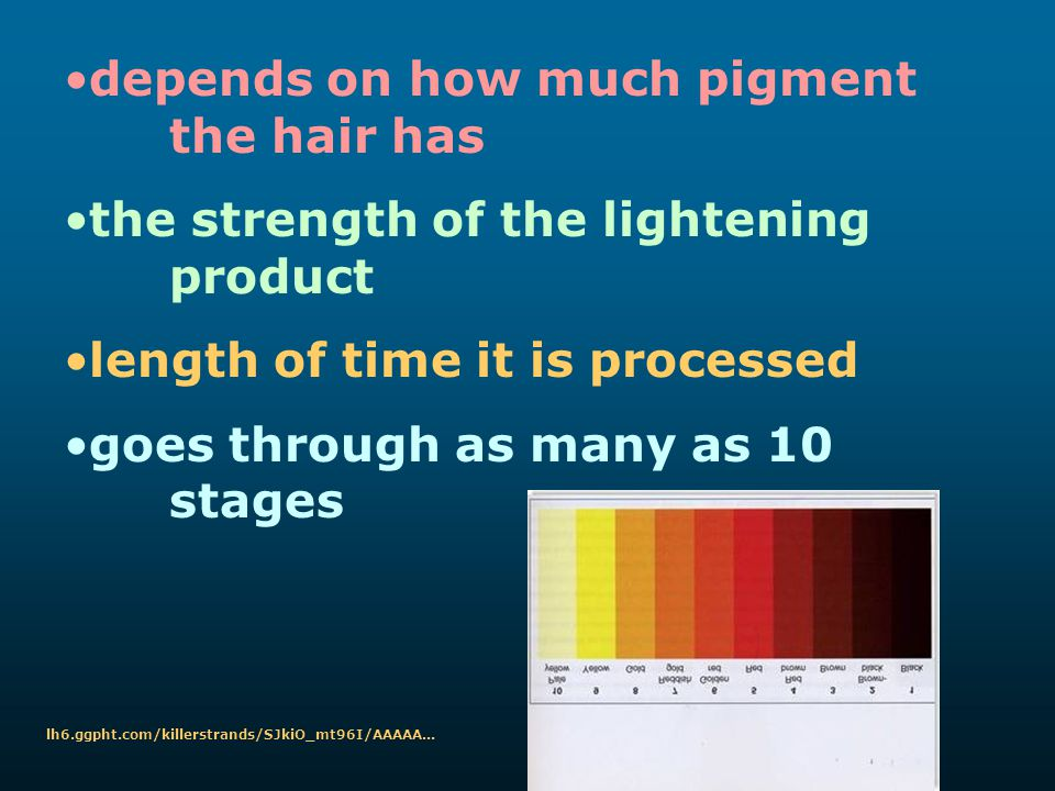 depends on how much pigment the hair has the strength of the lightening product length of time it is processed goes through as many as 10 stages lh6.g