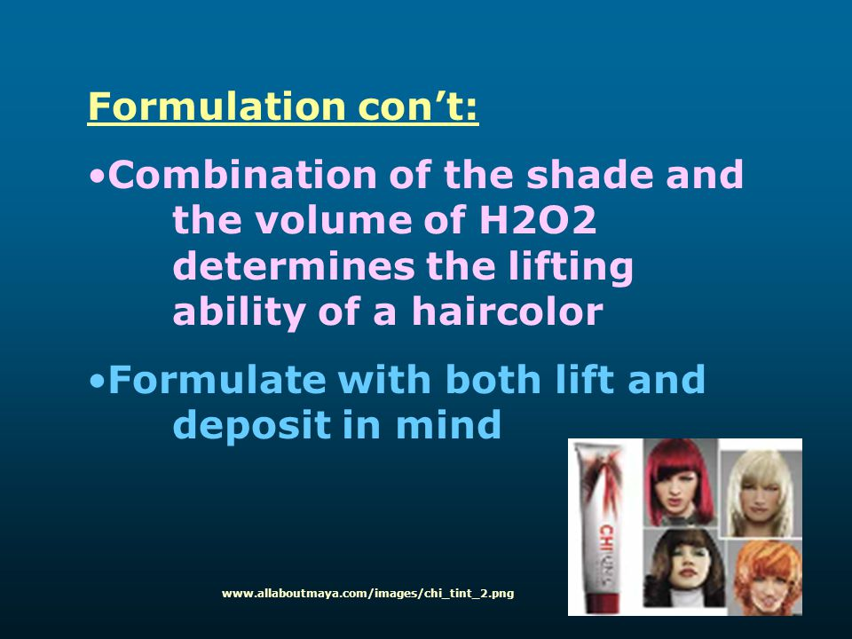 Formulation con't: Combination of the shade and the volume of H2O2 determines the lifting ability of a haircolor Formulate with both lift and deposit