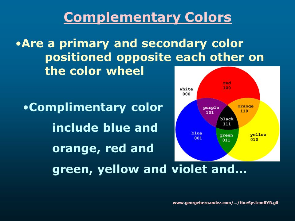 Complementary Colors Are a primary and secondary color positioned opposite each other on the color wheel Complimentary color include blue and orange,