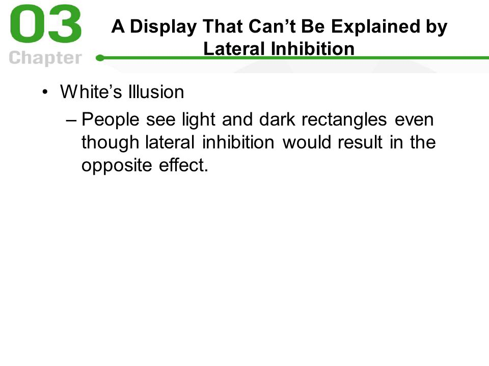 A Display That Can ' t Be Explained by Lateral Inhibition White ' s Illusion –People see light and dark rectangles even though lateral inhibition would result in the opposite effect.