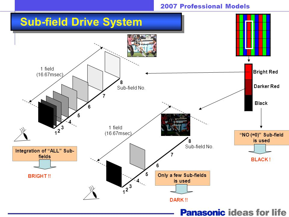 2007 Professional Models Sub-field Drive System 2 nd field 1 st field 3 rd field 60 th 1.0 sec 1 field (16.67msec) Sub-field No. 1 2 3 4 5 6 7 8 Long
