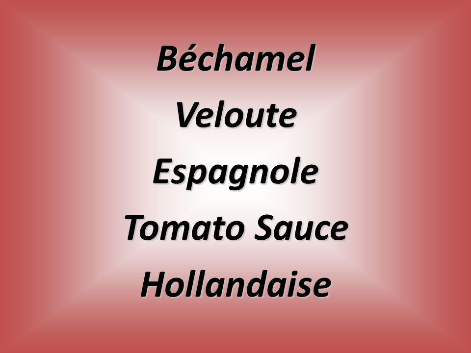 BéchamelVelouteEspagnole Tomato Sauce Hollandaise