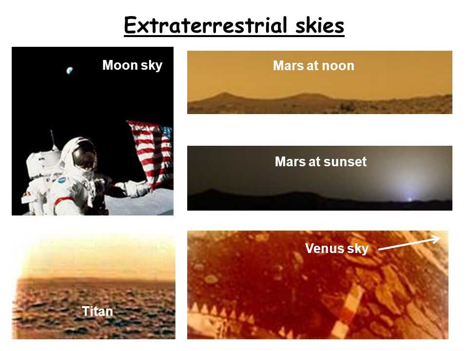 Extraterrestrial skies Venus sky Mars at noon Mars at sunset Moon sky Titan