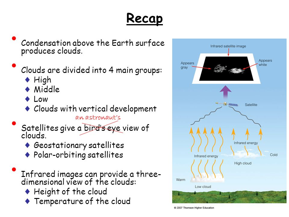 Recap Condensation above the Earth surface produces clouds.