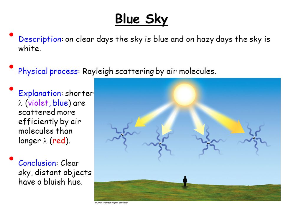 Blue Sky Description: on clear days the sky is blue and on hazy days the sky is white.