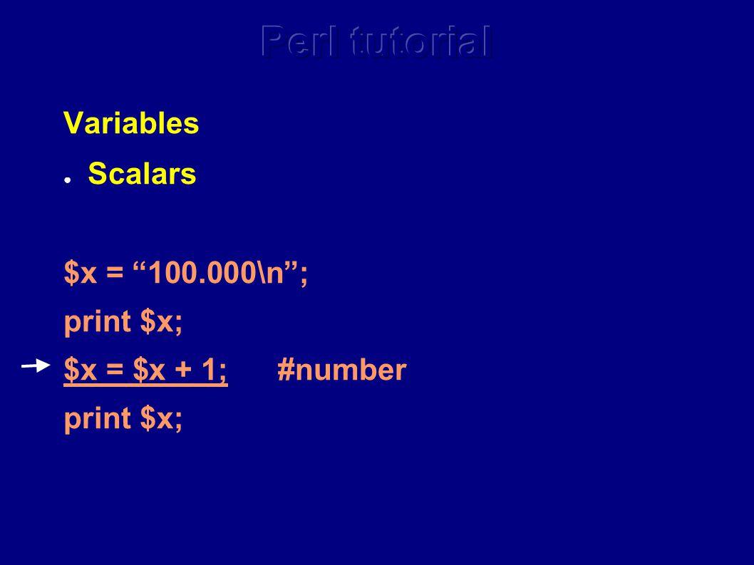 Variables ● Scalars $x = 100.000\n ; print $x; $x = $x + 1; #number print $x;