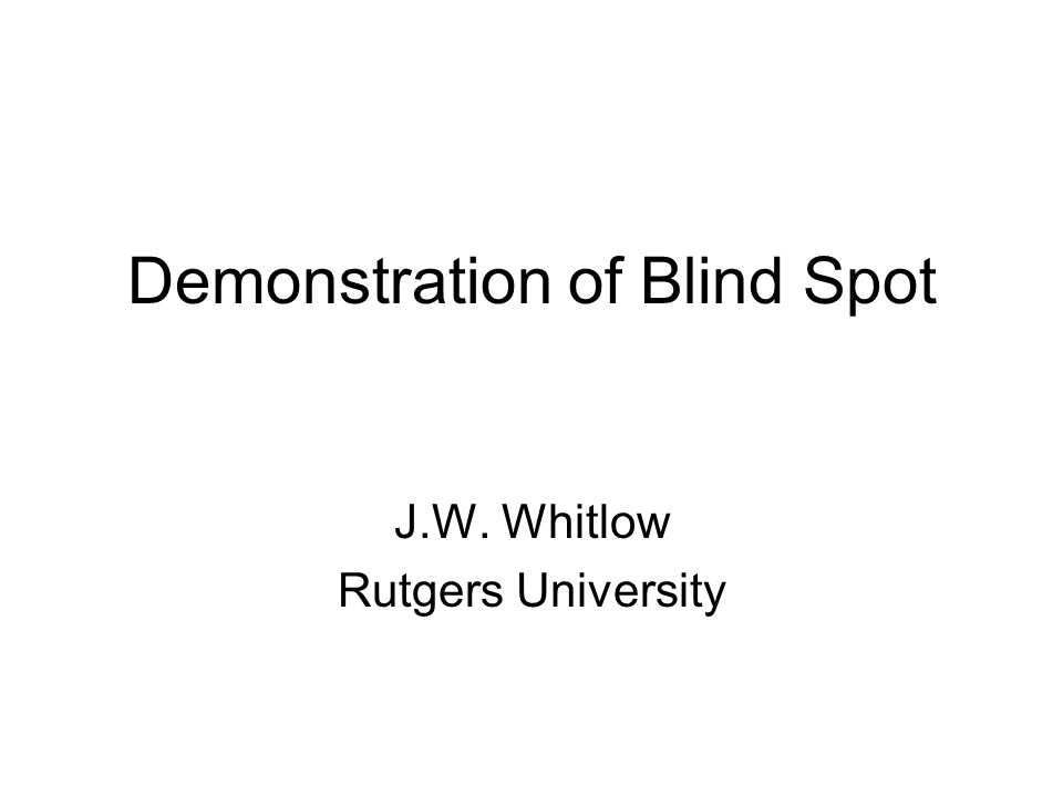 Demonstration of Blind Spot J.W. Whitlow Rutgers University