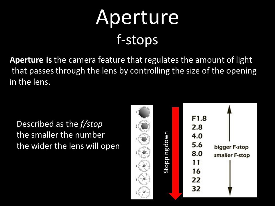 Aperture f-stops Stopping down Aperture is the camera feature that regulates the amount of light that passes through the lens by controlling the size of the opening in the lens.