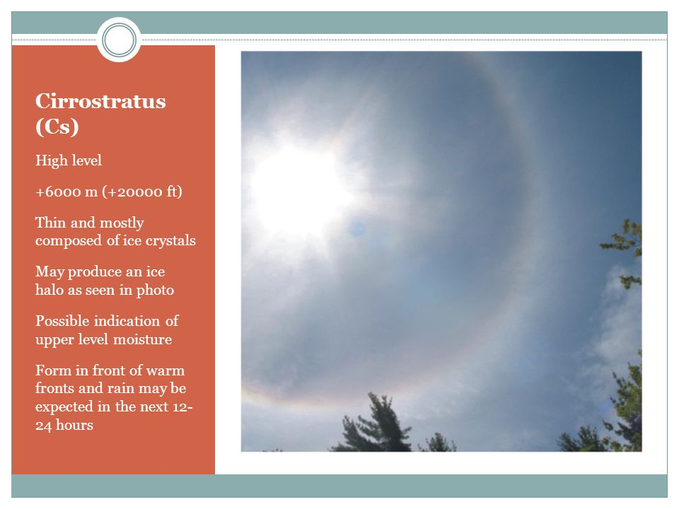 Cirrostratus (Cs) High level +6000 m (+20000 ft) Thin and mostly composed of ice crystals May produce an ice halo as seen in photo Possible indication of upper level moisture Form in front of warm fronts and rain may be expected in the next 12- 24 hours
