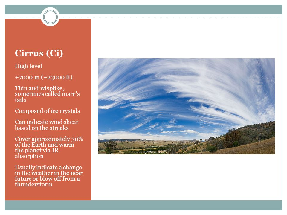 Cirrus (Ci) High level +7000 m (+23000 ft) Thin and wisplike, sometimes called mare's tails Composed of ice crystals Can indicate wind shear based on the streaks Cover approximately 30% of the Earth and warm the planet via IR absorption Usually indicate a change in the weather in the near future or blow off from a thunderstorm