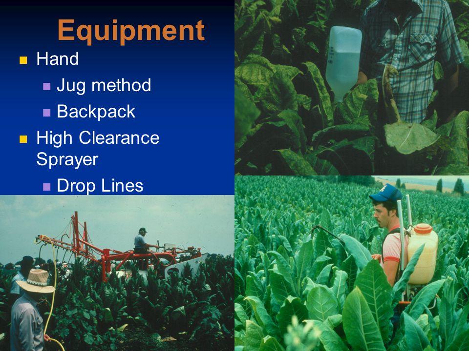 Equipment Hand Jug method Backpack High Clearance Sprayer Drop Lines