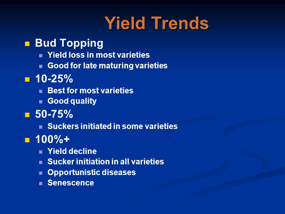 Yield Trends Bud Topping Yield loss in most varieties Good for late maturing varieties 10-25% Best for most varieties Good quality 50-75% Suckers init