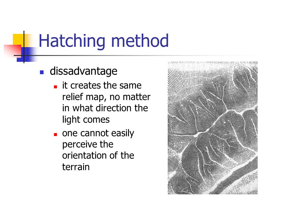 Hatching method dissadvantage it creates the same relief map, no matter in what direction the light comes one cannot easily perceive the orientation o