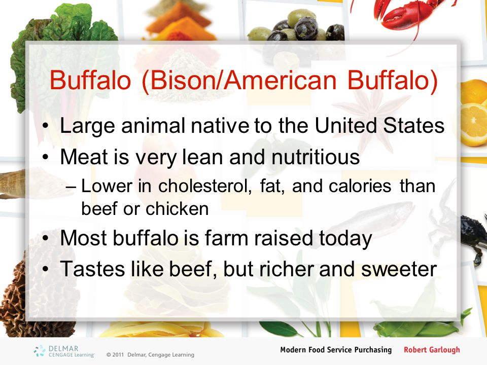 Buffalo (Bison/American Buffalo) Large animal native to the United States Meat is very lean and nutritious –Lower in cholesterol, fat, and calories th