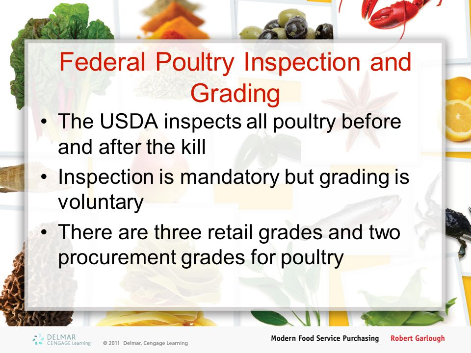 Federal Poultry Inspection and Grading The USDA inspects all poultry before and after the kill Inspection is mandatory but grading is voluntary There