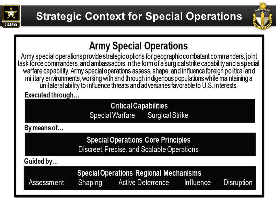 Surgical Strike Units trained and equipped to provide a primarily unilateral, scalable, direct action capability that is skilled in hostage rescue, kill/capture operations against designated targets, and other specialized tasks.