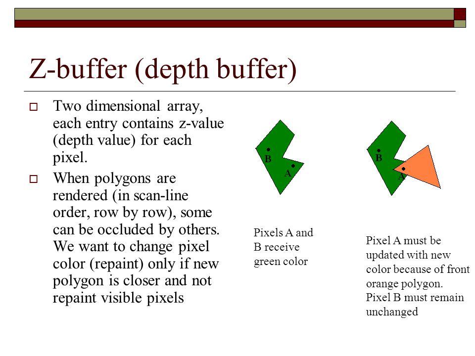 Z-buffer (depth buffer)  Each entry of z-buffer is initialized with deepest z-value.