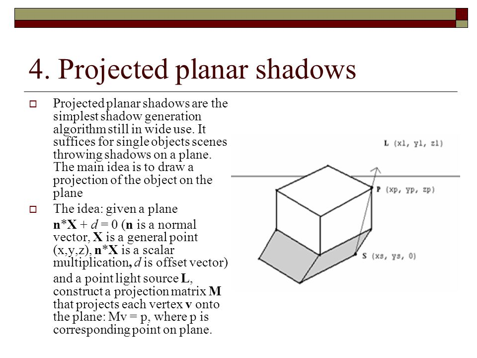Projected planar shadows – cont.