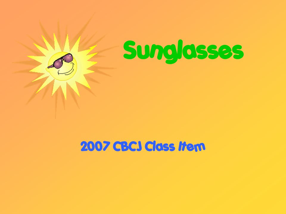 Purpose of Sunglasses Protection from UV light rays Comfort to eyes in constant sun Keep eyes from tiring out Protection from dust particles Fashion