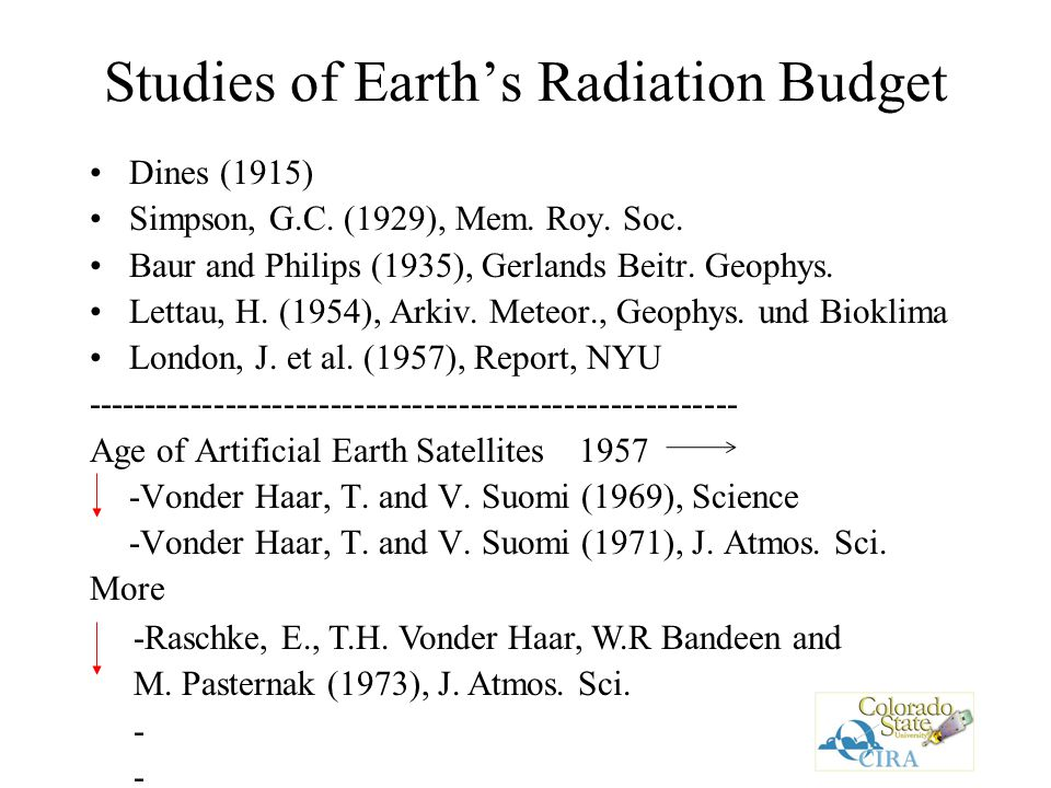 Studies of Earth's Radiation Budget Dines (1915) Simpson, G.C.