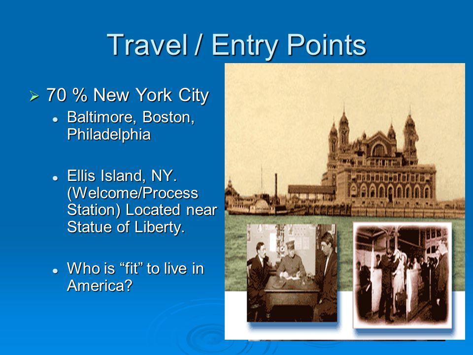 Travel / Entry Points  70 % New York City Baltimore, Boston, Philadelphia Baltimore, Boston, Philadelphia Ellis Island, NY.