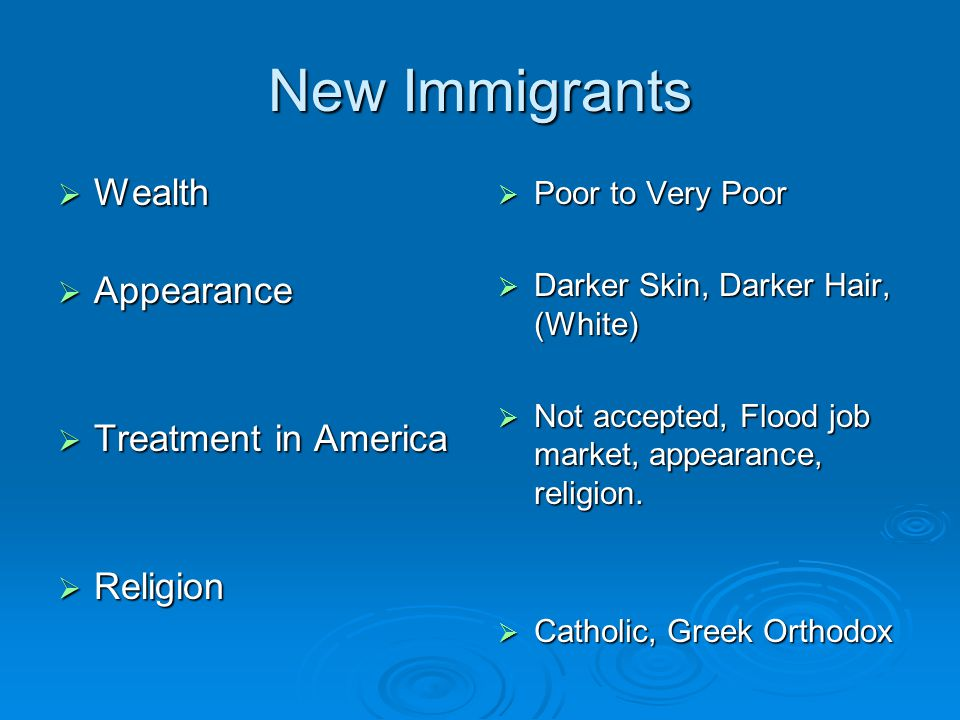 New Immigrants  Wealth  Appearance  Treatment in America  Religion  Poor to Very Poor  Darker Skin, Darker Hair, (White)  Not accepted, Flood job market, appearance, religion.