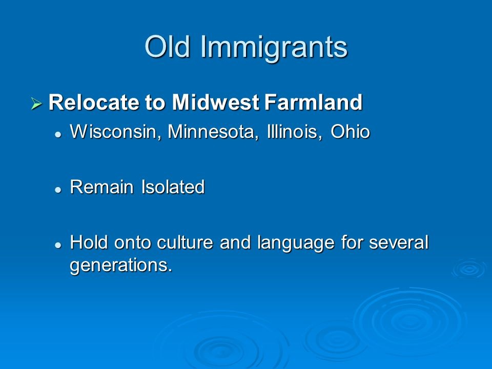 Old Immigrants  Wealth. Appearance.
