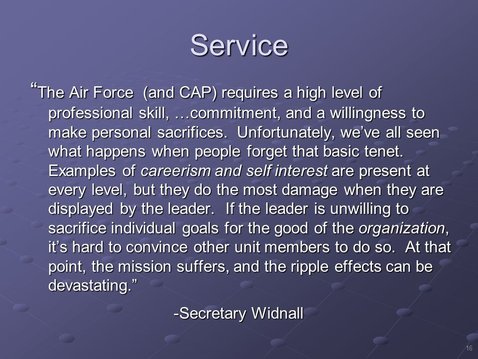16 Service The Air Force (and CAP) requires a high level of professional skill, …commitment, and a willingness to make personal sacrifices.