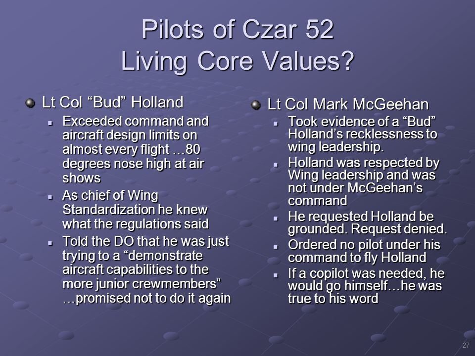 "27 Pilots of Czar 52 Living Core Values? Lt Col Mark McGeehan Took evidence of a ""Bud"" Holland's recklessness to wing leadership. Took evidence of a """